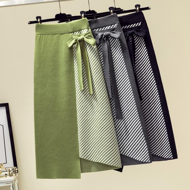Falda de punto de mujer otoño moda invierno lazo Irregular Midi falda verde cadera paquete rayas Jupe Femme Saia