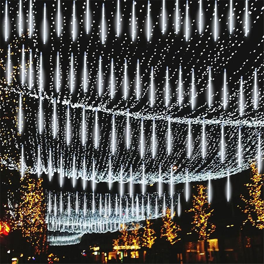 Thrisdar mejora Meteor ducha lluvia luz 50CM 384LED árbol de Navidad caída iluminación de lluvia cascada icle Fairy String Light