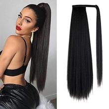 Extensión de cola de caballo con cordón, pelo largo y liso de cola de caballo Yaki, 28 pulgadas, sintético, color negro