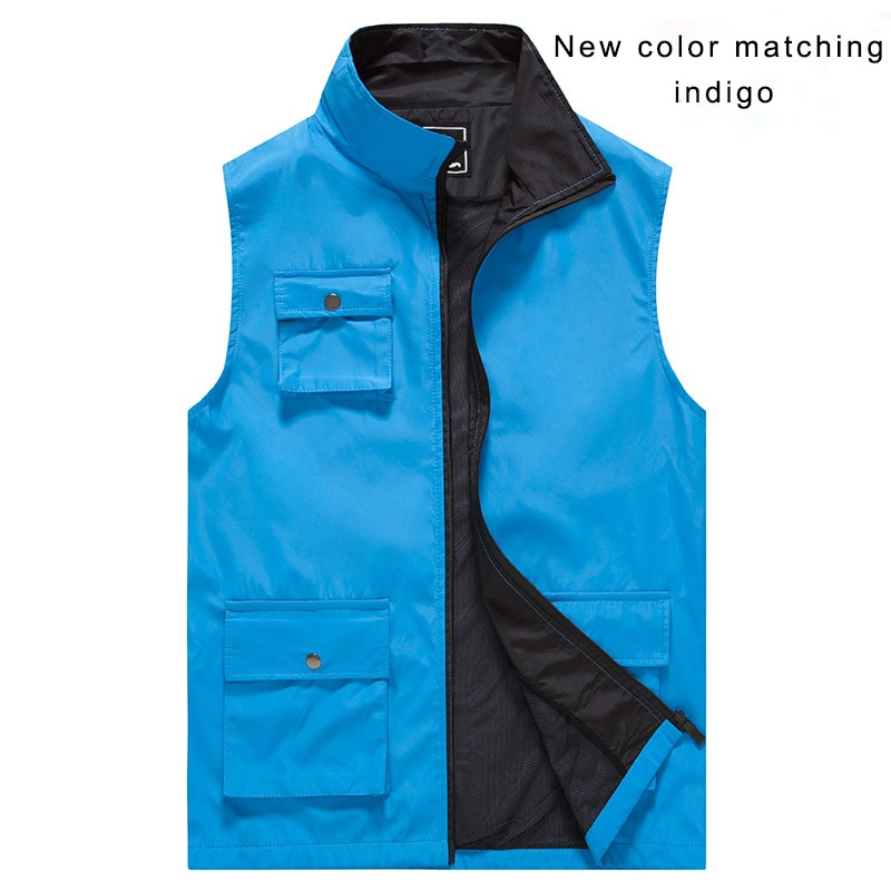Print Logo Text Solid Color Casual Waistcoat Large Capacity Pocket Volunteer Vest Work Clothes Advertisement  - buy with discount