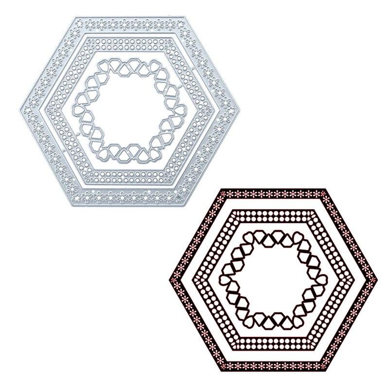 Eastshape Hexagon Nesting Frame Metal Cutting Dies Flower Diamond for DIY Scrapbooking Cards Making Embossing Crafts Stencils