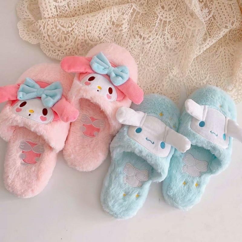 Zapatillas de mujer para interior de dibujos animados My Melody Cinnamoroll Pudding Dog Kawaii zapatillas de felpa de invierno para el hogar pantuflas de algodón suave
