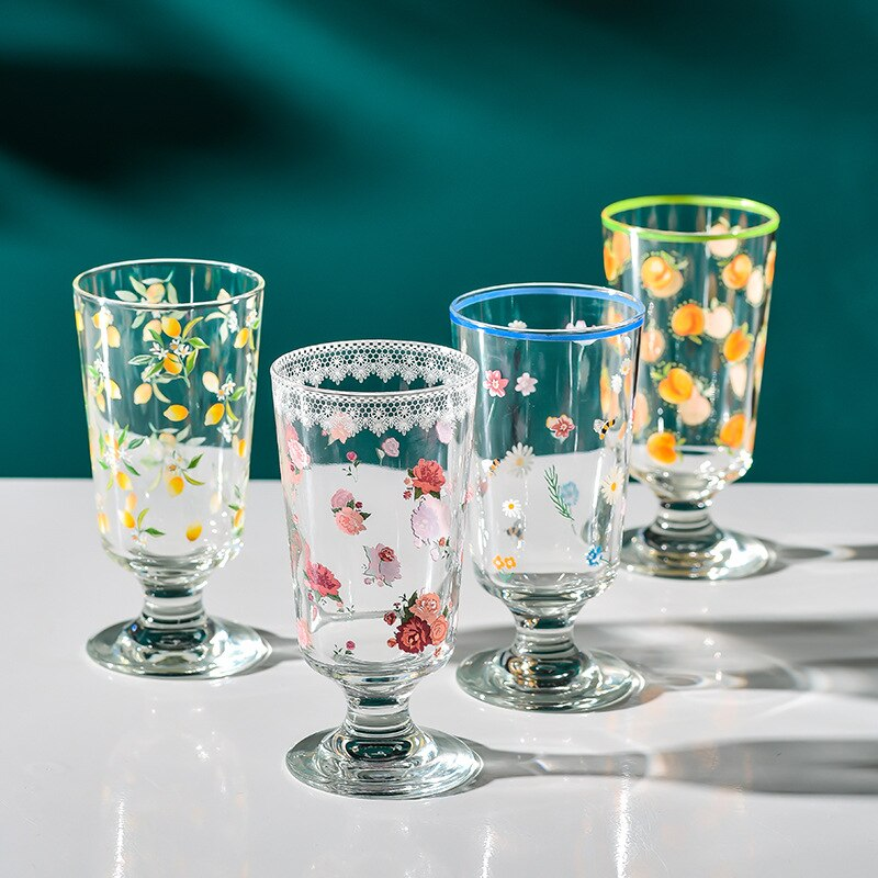 Ins Qingba شرب كأس كأس الكورية بنوم بنه كأس الزجاج الفرنسية رومانسية قصيرة القدم كأس النبيذ الآيس كريم كوب كؤوس مشروبات