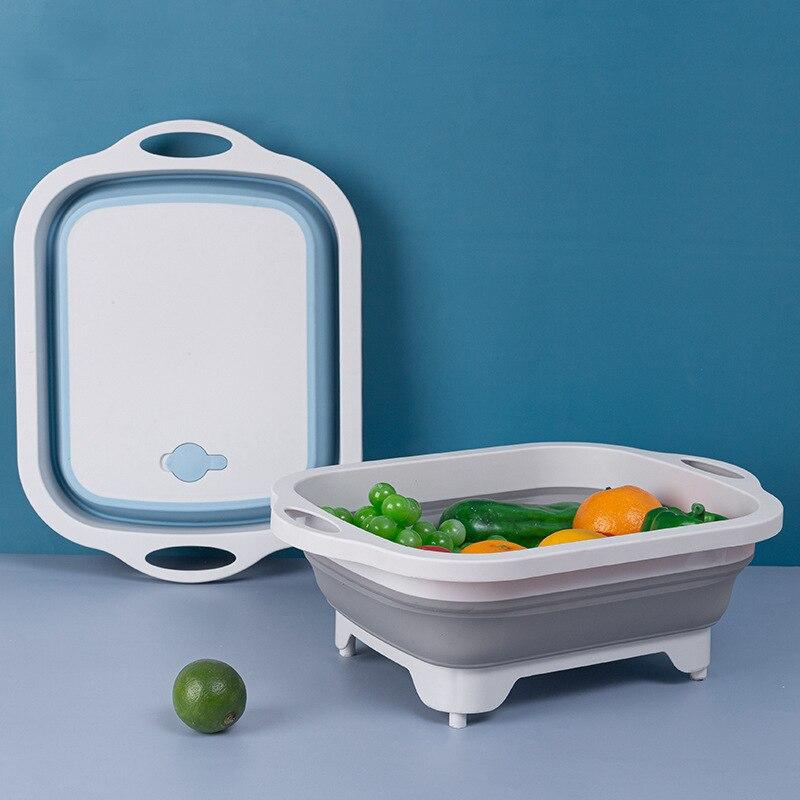 Fregadero Plegable Multifuncional Para Cocina Escurridor Para Lavar Verduras y Tabla De Picar y Tres En Uno