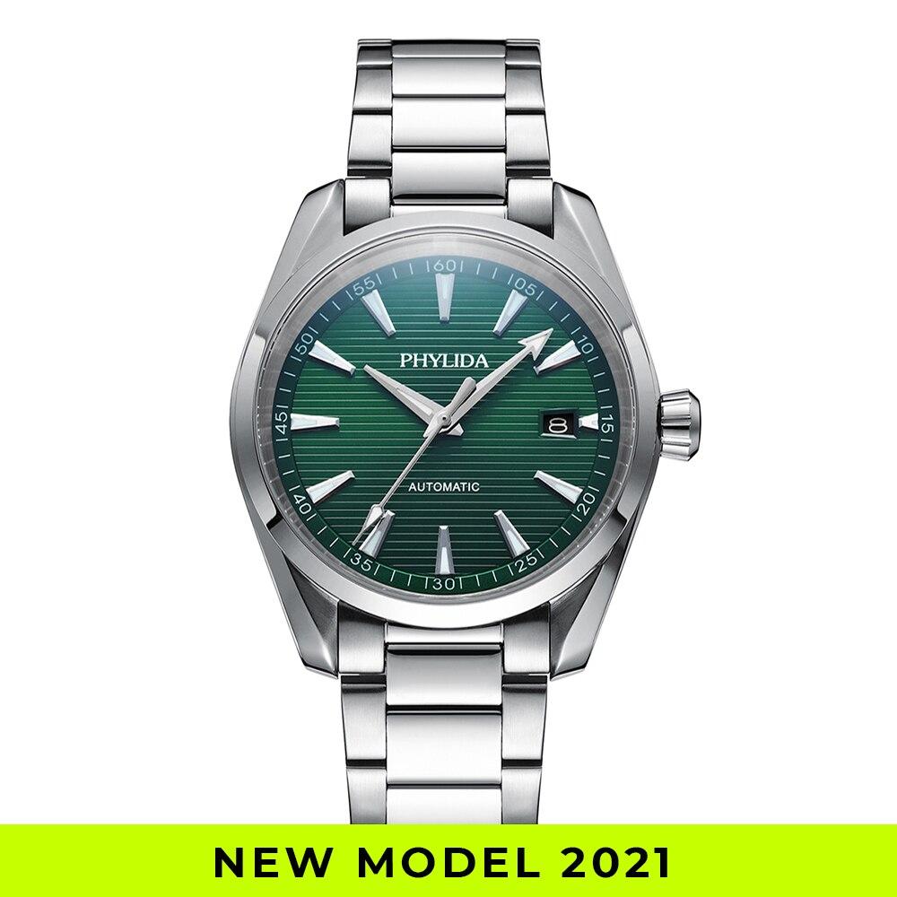 2021 جديد أكوا ساعة أوتوماتيكية الصلبة SS الياقوت الكريستال NH35A ساعة اليد الميكانيكية 100WR غواص