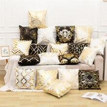 Fuwatacchi feuille dor noir lin housse de coussin feuille fleurs diamant taie doreiller pour maison chaise canapé oreillers décoratifs 45*45cm