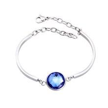 Hot Luxury Stainless Steel Women Elegant Jewelry Fashion Glass Bangles Female Crystal Bracelet - 1 Piece