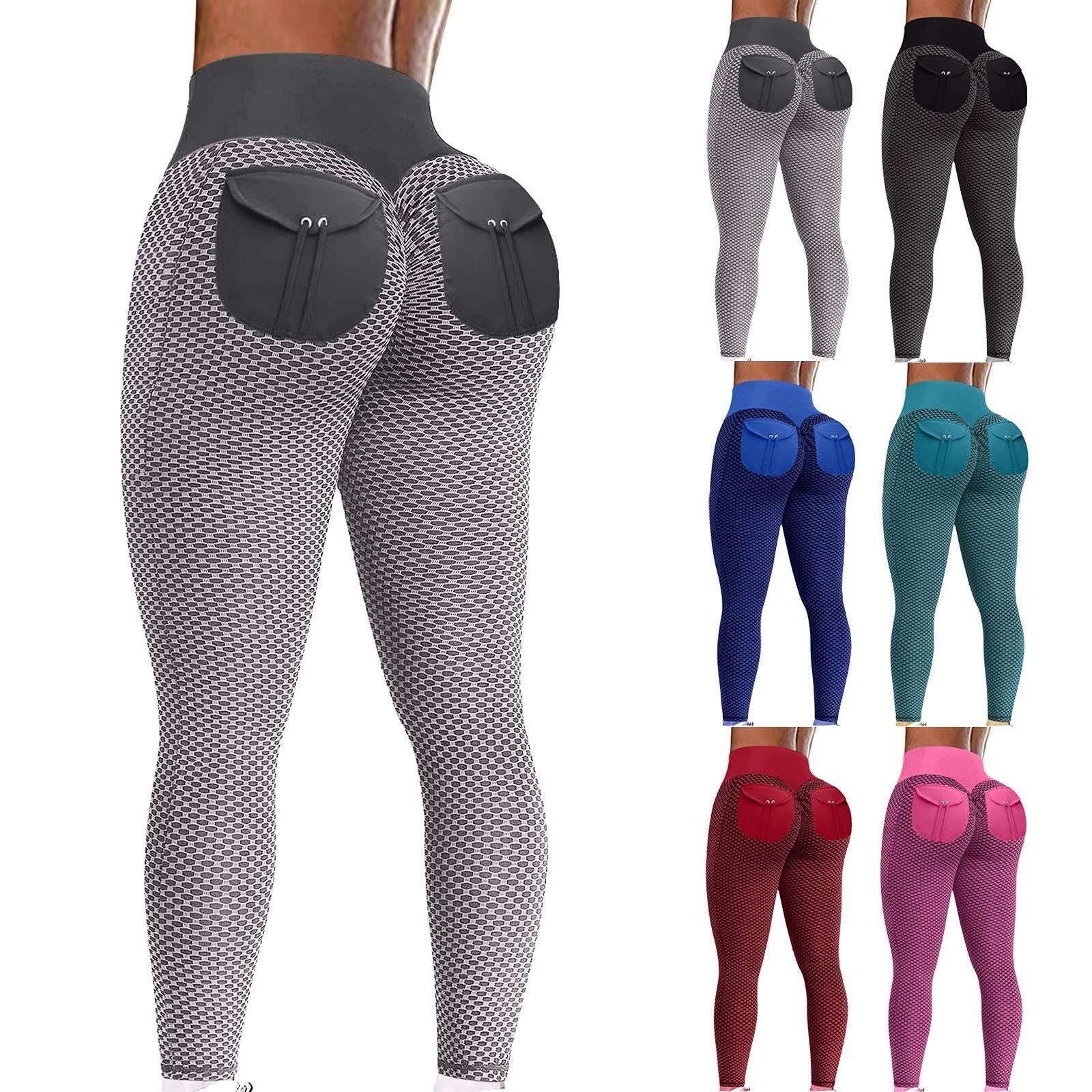 Las mujeres de Yoga pantalones de cintura alta corriendo Tie-dye pantalones mallas...