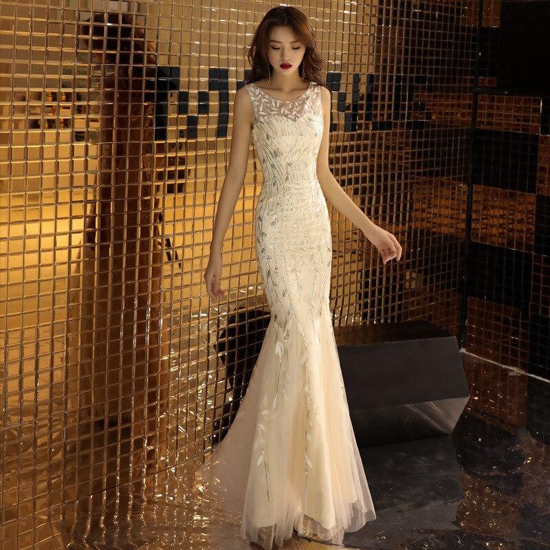 2020 vestidos de noche chinos Sexy vestido de boda largo estilo Oriental verano Cheongsam bordado sin mangas Qipao fiesta China