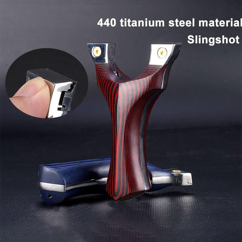 رقعة مقلاع التيتانيوم الصلب G10 مع شريط مطاطي مسطح ، ضغط سريع ، غير ممتص للصدمات ، للرماية في الهواء الطلق والصيد