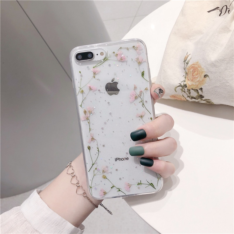GYKZ Bling Glitter Real seca flores caso iPhone 7 XS MAX XR 8X6 6s Plus transparente, cubierta suave de TPU teléfono mujeres bolsa