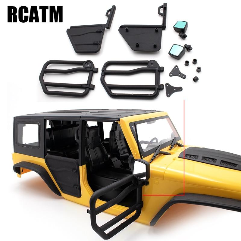 La parte trasera delantera para espejo retrovisor de puerta para 1/10 coche trepador de control remoto AXIAL SCX10 KYX Jeep Wrangler cuerpo 313mm de distancia entre ejes de modificación