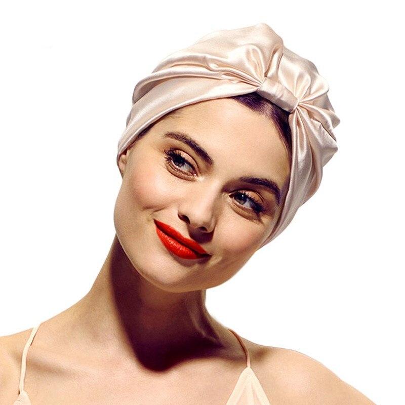 Fashion Muslim Silk Turban For Hair women Wrap Head Caps lady sleeping hat female Hairloss Chemo Ind