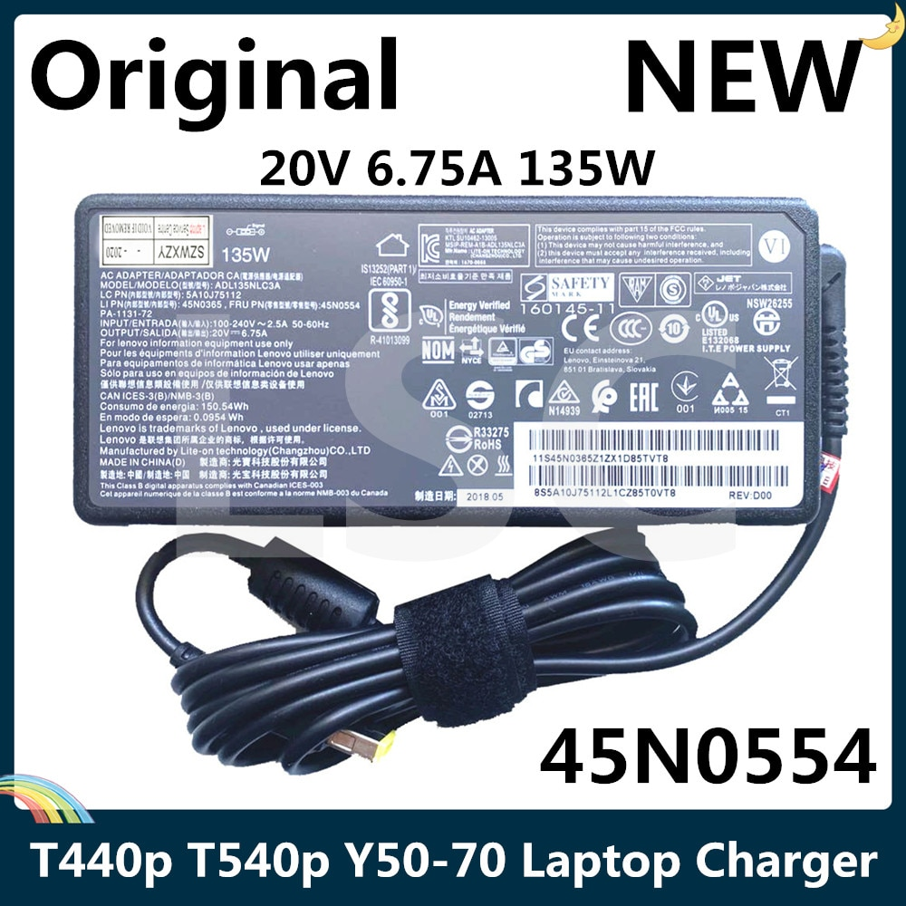 LSC NEUE Original 20V 6,75 A 135W Neue Laptop Ladegerät Für Lenovo ThinkPad T440p T540p Y50-70 ADL135NLC3A 45N0365 45N0554 PA-1131-72