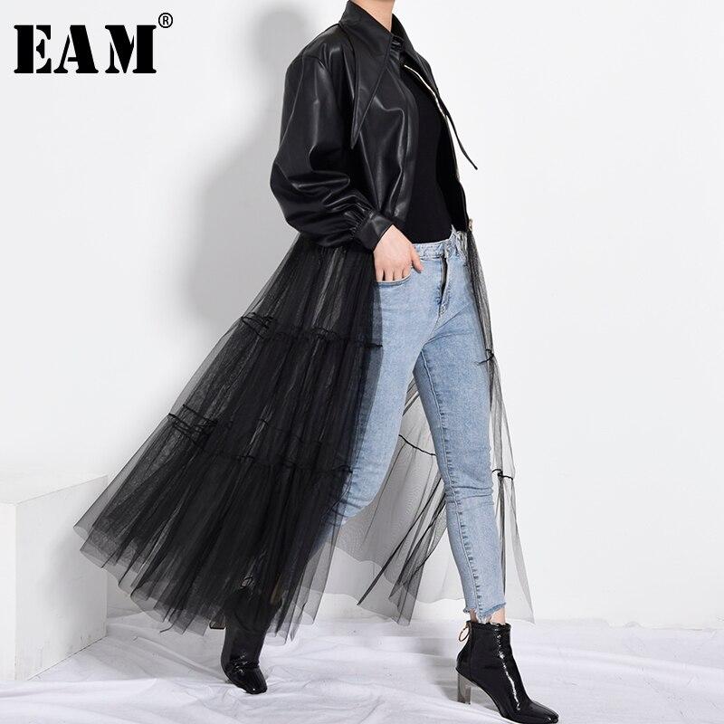 [EAM] chaqueta holgada de cuero Pu de talla grande de malla negra con solapa nueva, abrigo de manga larga para mujer, moda Primavera otoño 2020 PB27901