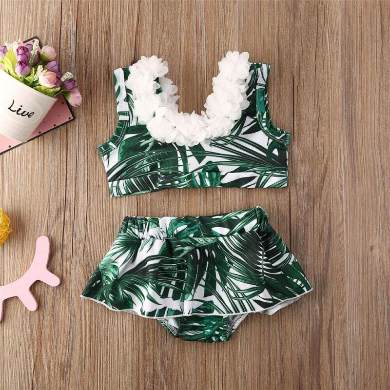 Pudcoco 2020 Kid Baby Girl Bikini Set Swimwear Swimsuit Ruffle Leaves Print Bathing Suit 2pieces Beach Floral Costume 6M-5Y