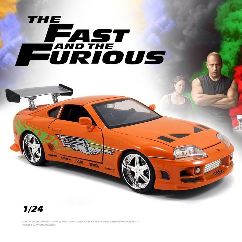 2021 جديد 1:24 تويوتا سوبرا 1995 لعبة سبيكة سيارة diecous ولعبة السيارات نموذج سيارة نموذج مصغر مقياس سيارات لعب للأطفال