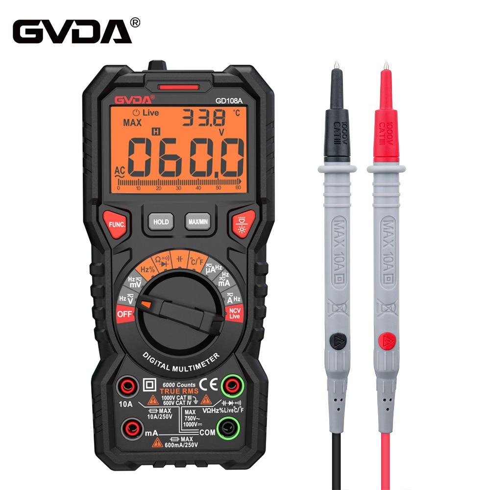 GVDA-multímetro Digital Ture RMS, nuevo multímetro de rango automático de 6000 recuentos,...