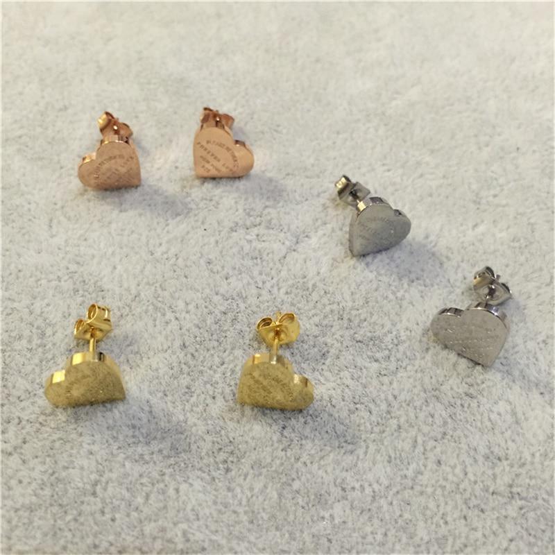 Jóias de aço inoxidável cor de ouro coração brincos para mulher bijoux moda amor parafuso prisioneiro brincos wiith logotipo meus pedidos aliexpress