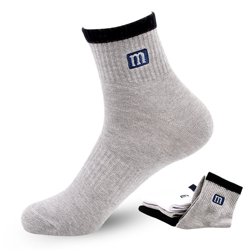 Новинка 2021, стильные мужские хлопковые носки, высококачественные осенние мужские спортивные носки короткие Дышащие носки, носки для пеших ...
