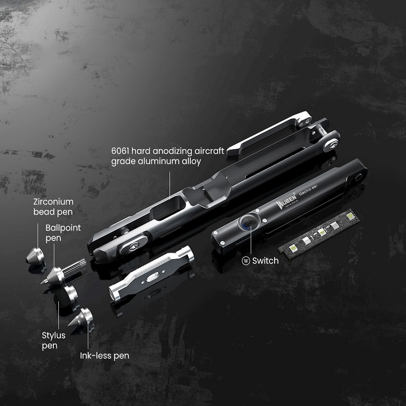 WUBEN E61 270 Degree Rotation Waterproof Rechargeable And Writing Multifunctional Tactical Pen Outdoor Lighting Camping Record enlarge
