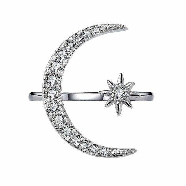 Nuevo Anillo de luna y estrella de luna creciente, anillo de estrás de cristal exagerado con apertura de luna y estrella