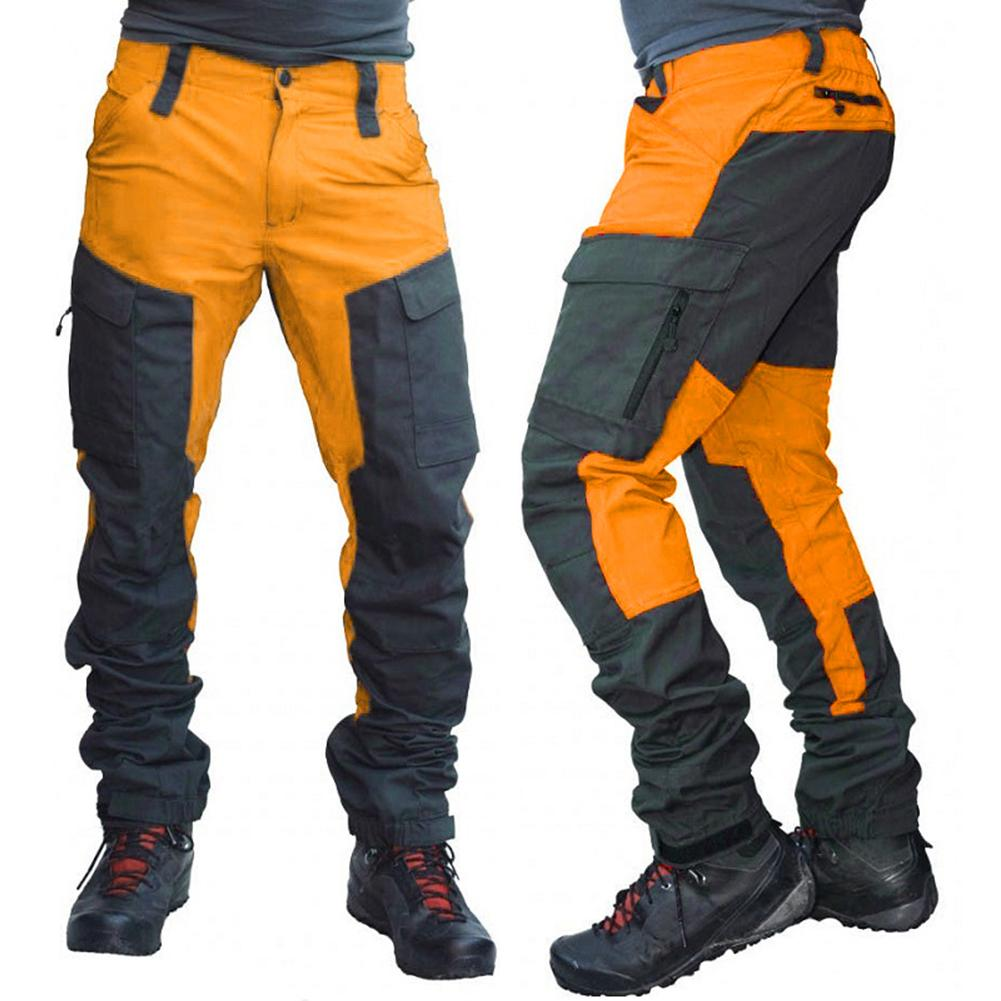 Casual Men Fashion Color Block Multi Pockets Sports Long Cargo Pants Work Trousers for Men