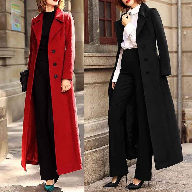 Abrigo de una botonadura de lana elegante de invierno x largo abrigo...