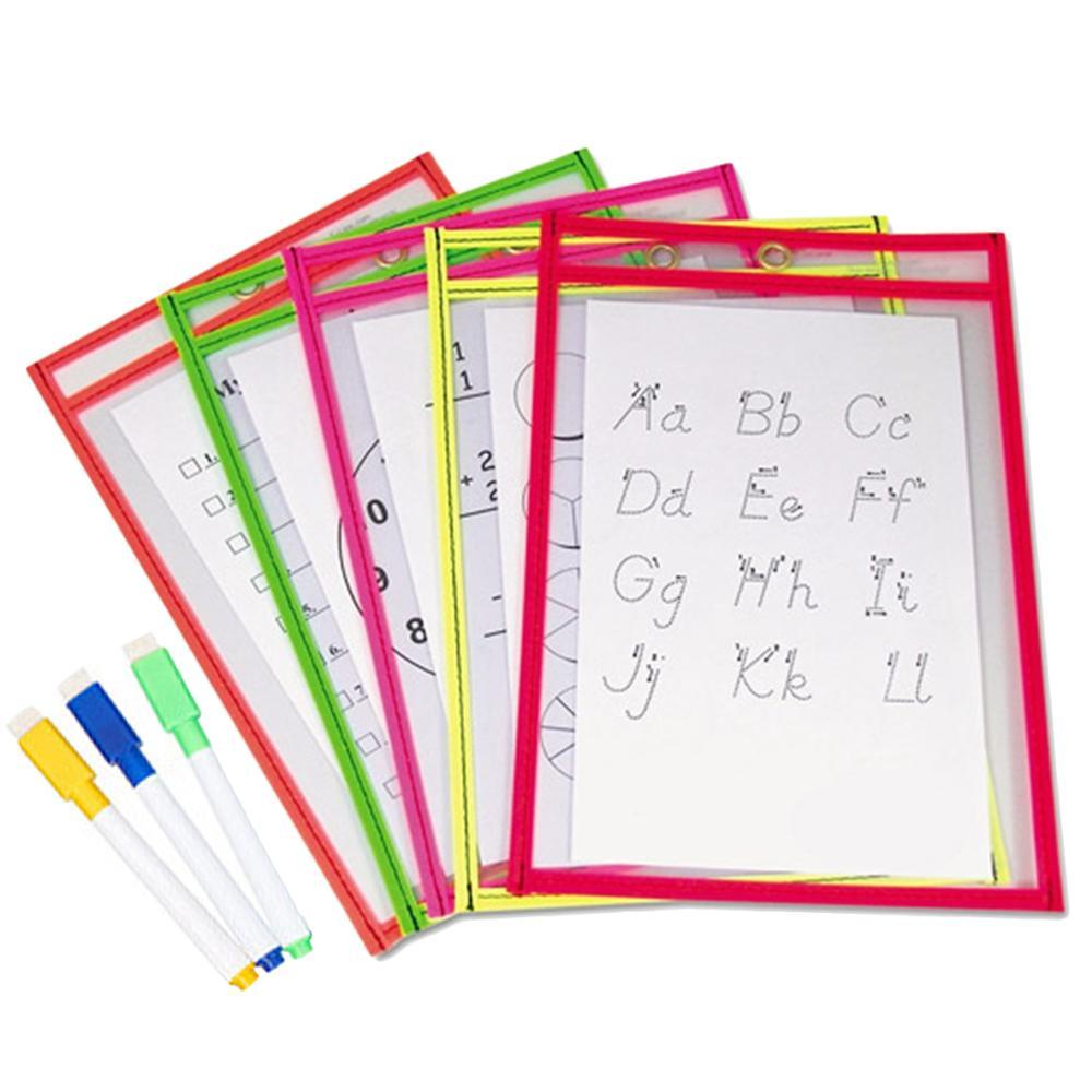 10x pvc transparente reutilizável seco apagar bolsos de armazenamento 3 pçs canetas escritório portátil pintura suprimentos cores aleatórias