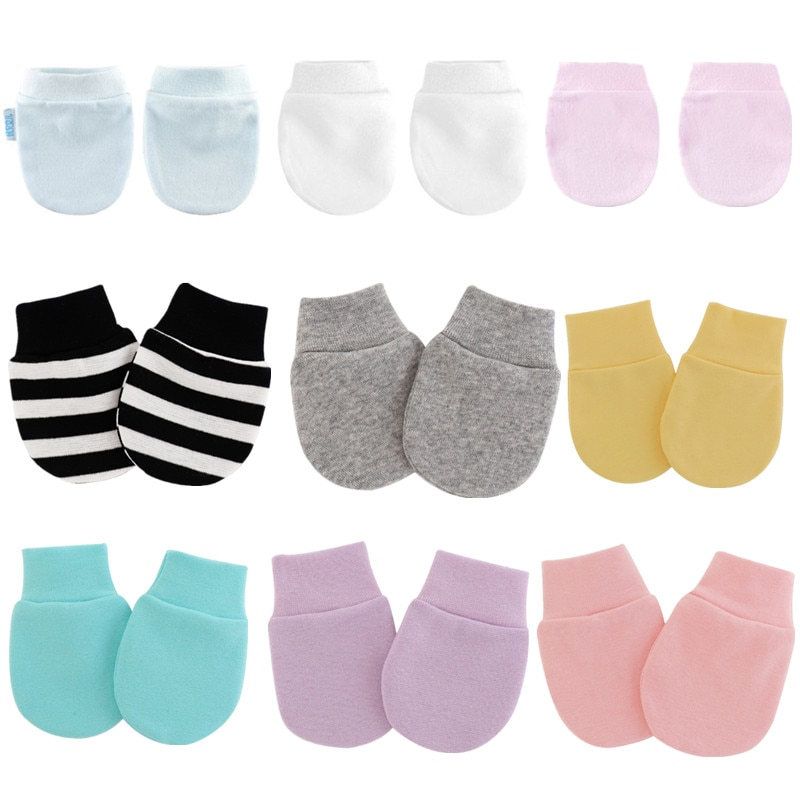KLV 4 Pair/set Simple Cute Baby Knitting Mitten Newborn Anti-eat Hand Anti-Grab Face Protect Glove B