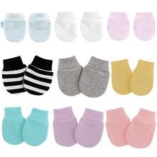 KLV 4 Pair/set Simple Cute Baby Knitting Mitten Newborn Anti-eat Hand Anti-Grab Face Protect Glove Baby Mitten
