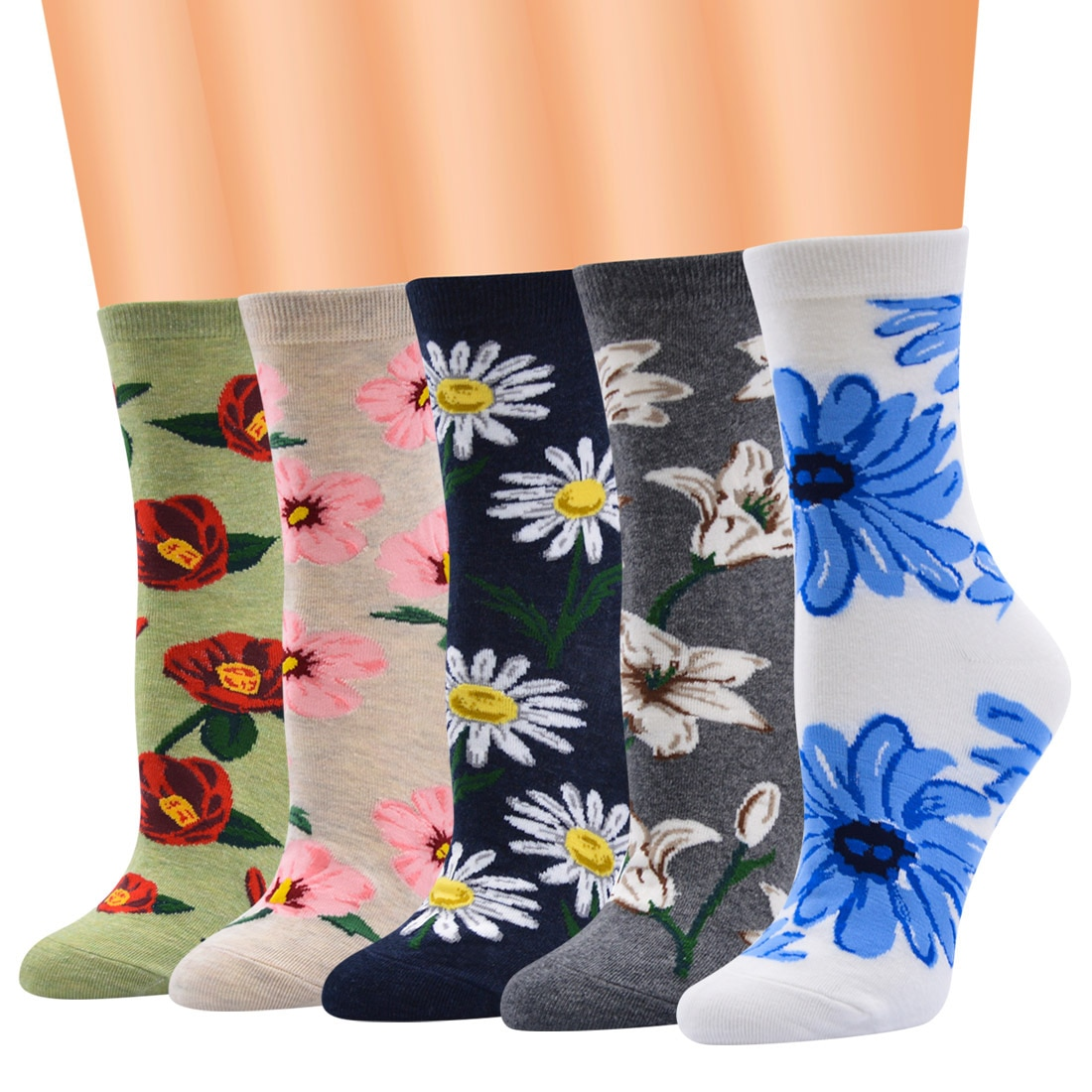 Women Low Tube Beautiful Flower Print Pattern Lovely Cute Combed Cotton Knitted Floral Socks For Girls