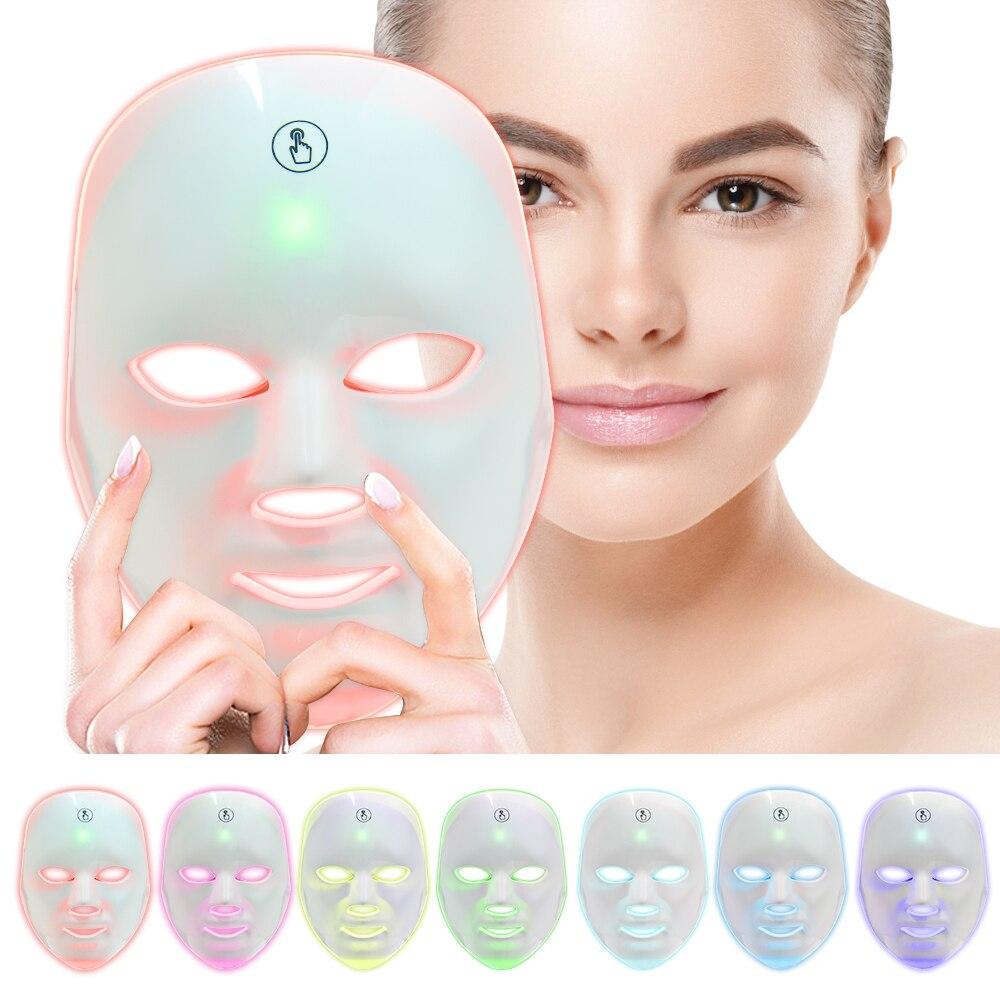 7 ألوان ضوء العلاج قناع الوجه اللمس الكهربائية LED الفوتون تجديد الجلد حب الشباب إزالة النمش المضادة للتجاعيد العناية بالبشرة الجمال