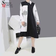 Modèle géométrique imprimé automne Style 2020 femme grande taille chemise robe noir blanc contraste couleur dame décontracté robe Midi 6514