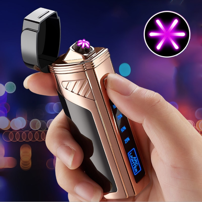 AliExpress - Luxury 6 ARC Flameless Usb  Cool Lighter Touch Switch With Cigar Cutter Windproof Acendedor Eletrico Rechargable Gadgets For Men