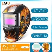 Casco de soldadura con guantes, máscara Solar automática, de regalo, soldadura eléctrica, oscurecimiento automático, TIG MIG