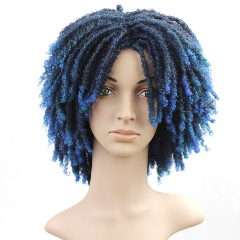 Peluca rizada de color azul Dreadlock, pelucas sintéticas cortas para mujeres negras, pelucas trenzadas sintéticas de Crochet Soul Locs