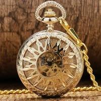 luxury yellow golden hollow flower sun case design roman number dial men women skeleton manual mechanical pendant pocket watch