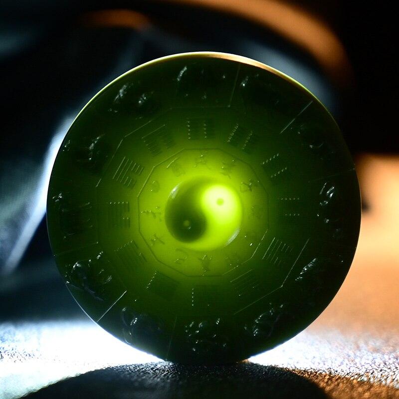 Colgante de jade Natural 7A verde hetian, colgante tallado a mano del zodiaco Tai Chi para hombres y mujeres, joyería de jade real jadeite