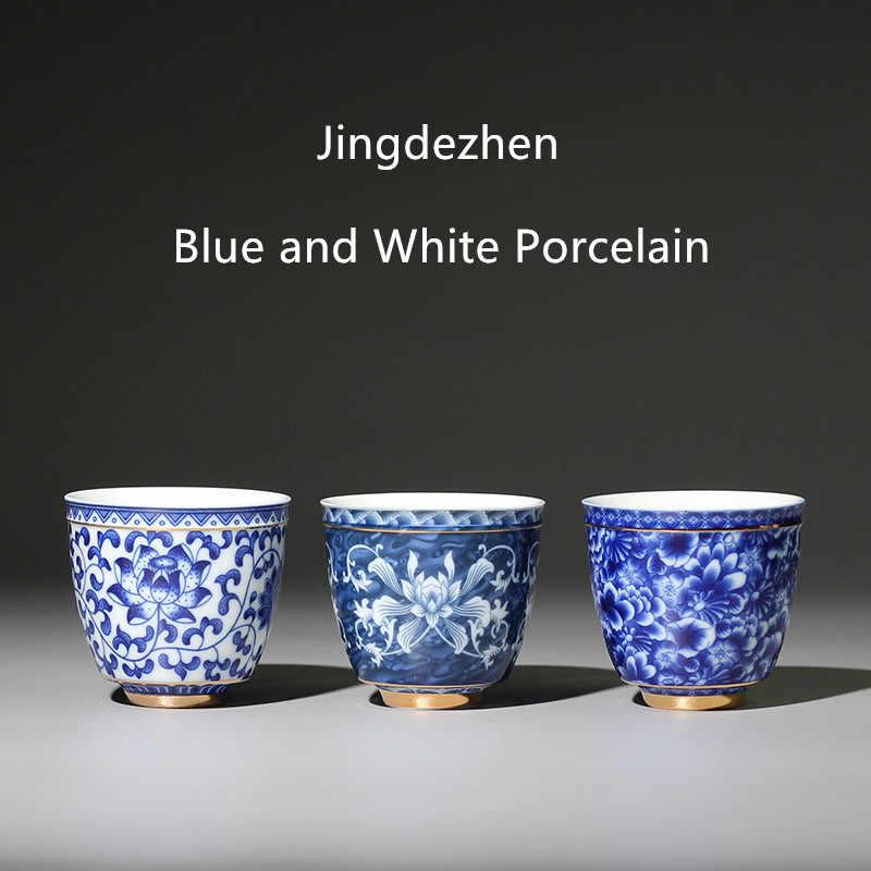 Jingdezhen Taza De Té De Porcelana Blanca Y Azul Tazón De Té Pequeño Taza De Té De Cerámica Café Cerveza Vino Tazas Y Platillos Aliexpress