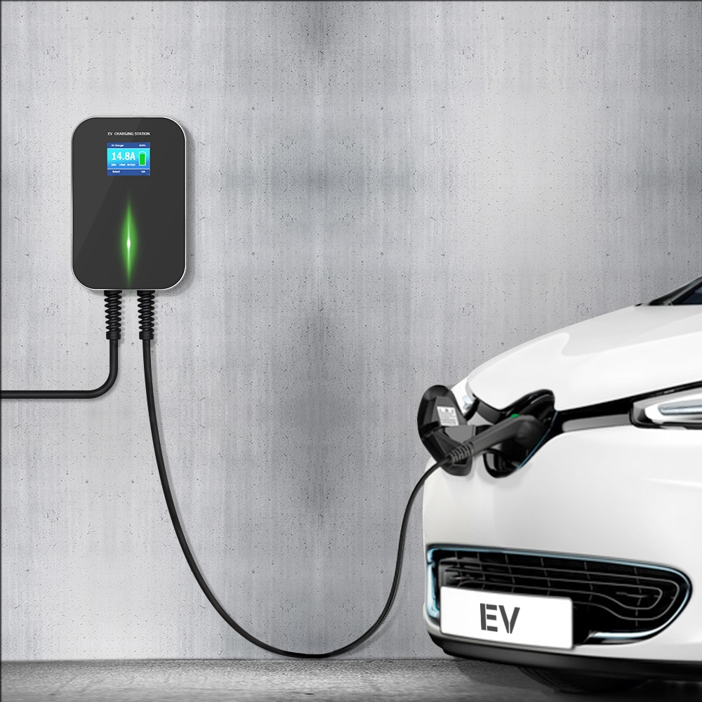 IEVISON 16A 1 Phase EV Charger Wallmounted EVSE Wallbox Electric Vehicle Charging Station Scoket with Type1 Cable S-A-E J1772 enlarge