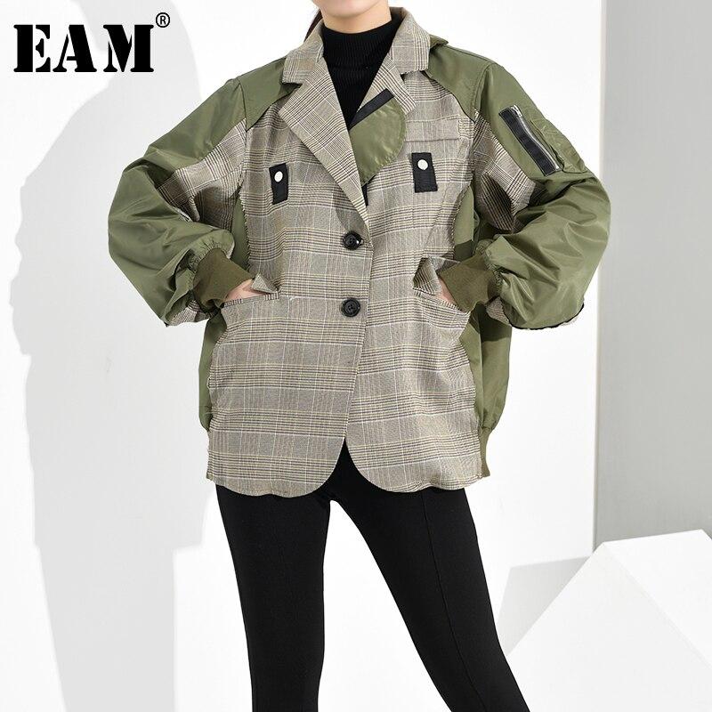 [EAM] chaqueta holgada ajustada con abertura a cuadros, chaqueta de gran tamaño con solapa nueva, abrigo de manga larga para mujer, Moda de Primavera otoño 2020 1D6360