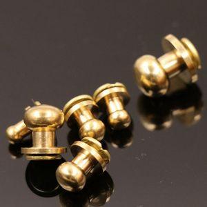 10Pcs 5-12mm Solid Brass Round Head Stud Spot Screwback Screw Back Chicago Screw Nail Rivet Nipple Buckle Leather Craft Bag Belt