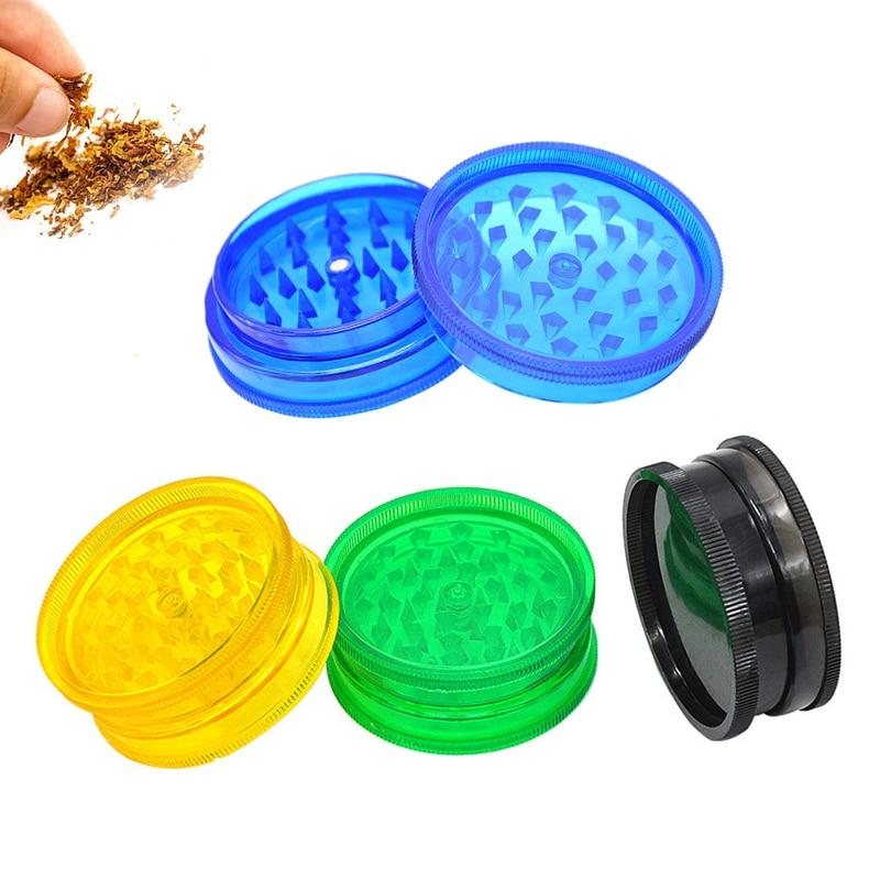Moedores de tabaco erva daninha 2 camadas de plástico moedor de tabaco erva moedor de tabaco triturador de especiarias mão muller moledor moedor erva daninha