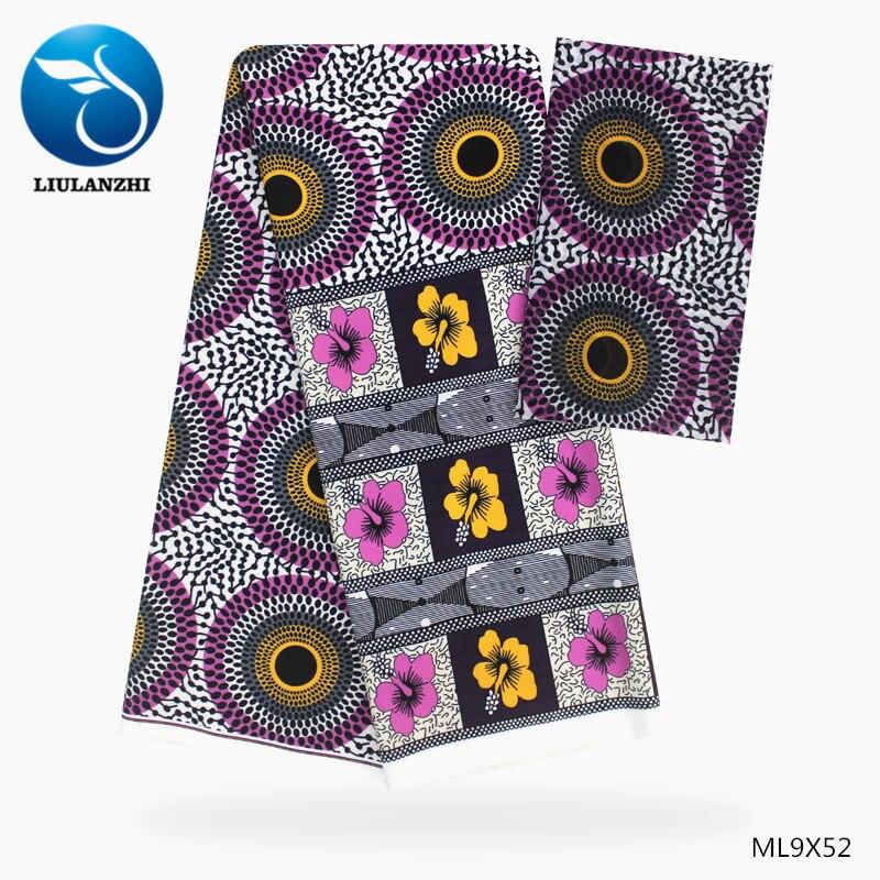 LIULANZHI estampas nigerianas Blusa de gasa tejido de costura 4 + 2 yardas diseño de cera Africana estilo gasa tissu ML9X49-52