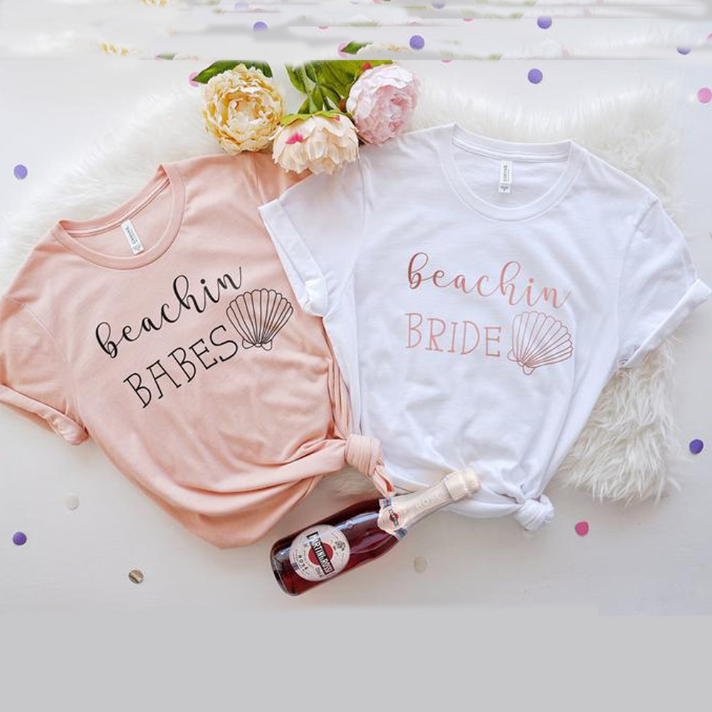 Beachin, camisetas de novia para mujer, camisetas para niñas, camisetas de verano a la moda para mujer, camisetas para fiesta de boda, camiseta manga corta, Dropship