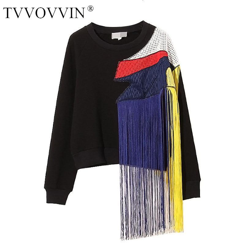 TVVOVVIN 2020 ملابس الشارع الخريف والشتاء جديد أوروبا قوس قزح شرابة المرقعة شبكة زائد أسفل سميكة المرأة البلوز القمم A479