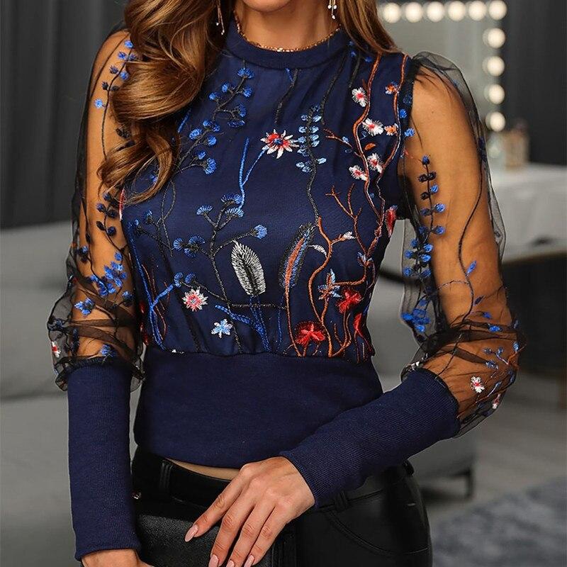 Camisa blusa sexi de mujer con bordado Floral de primavera y otoño, Top Ol elegante de malla transparente con farol, camisa de manga larga con retazos, prendas de vestir