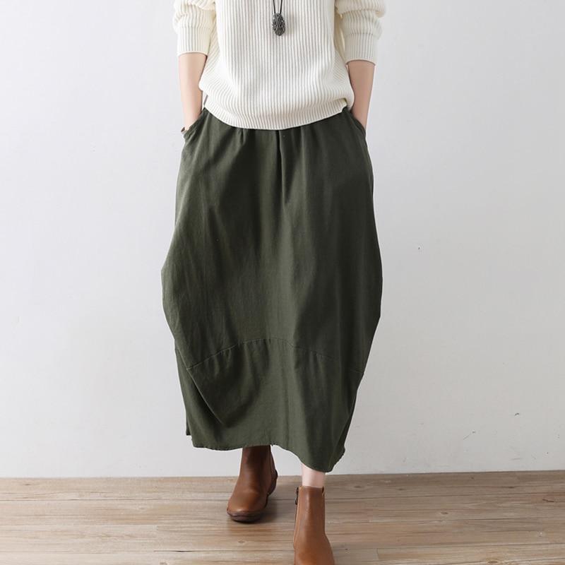 Johnature Original Solid Color Women Cotton Linen Skirt 2020 New Irregular Fold Loose Plus Size Skirt Casual Pockets Vintage