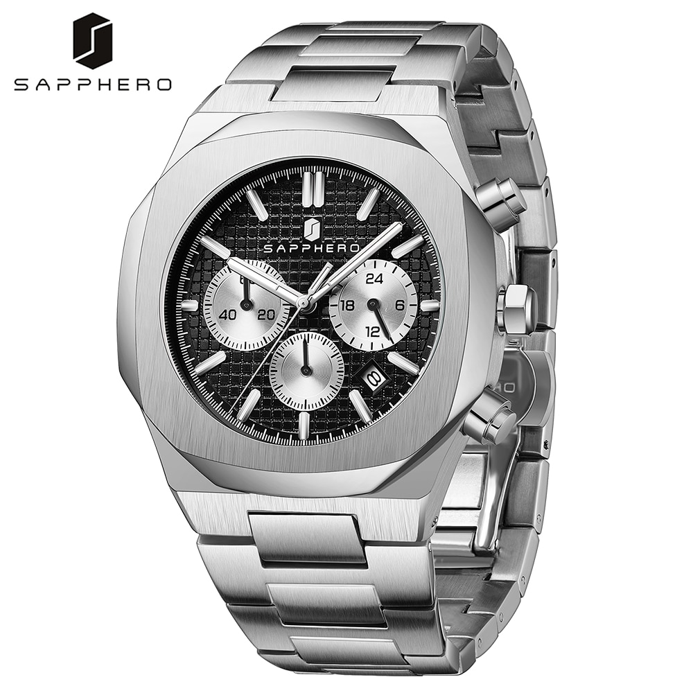 SAPPHERO 2021 New Watch for Men Waterproof Stainless Steel Chronograph Quartz Movement Casual Luxury Business Style Elegant Gift the hot selling 2018 men s quartz movement classic business style the only designated choice